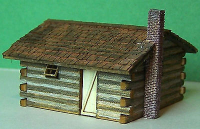 LOG CABIN Z Scale Model Railroad Structure Unptd Wood Laser Kit RSL4016