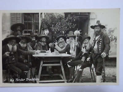 Group of Austrian men in Tyrdean (Tiroler) costumes - 1908 - photo postcard