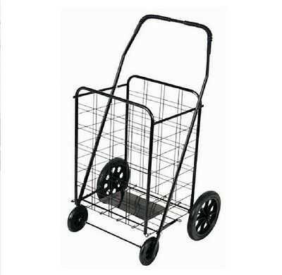 Shopping Cart With Wheels Black Steel Folding Large Wire Basket Grocery Laundry