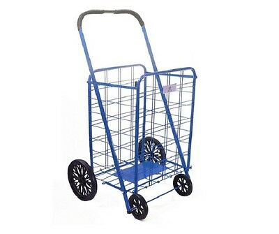 Shopping Cart With Wheels Blue Large Wire Folding Basket Grocery Laundry