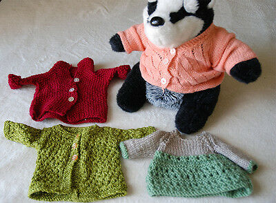 Hand Made Crochet  Clothes 4 x Knitwear Cardigan Jumper for Doll Vintage Retro