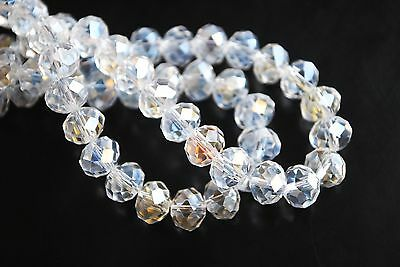 100Ps Clear AB Crystal Glass Faceted Rondelle Beads 3mm Spacer Finding Charms