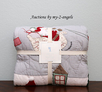 NEW Pottery Barn Kids Christmas NORTH POLE Santa Reindeer Full/Queen F/Q Quilt