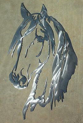 24 inch Horse Head Brushed Finish Metal Art Wall Stencil Cabin Barn Shop Sign