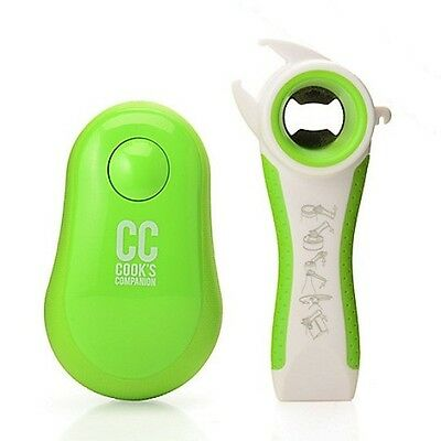Cook's Companion Electric Can Opener w/ Multi Tool Green NEW