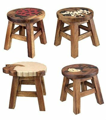Kids Children Animal Design Hand Painted Solid Wood Wooden Step Stool Chair Seat