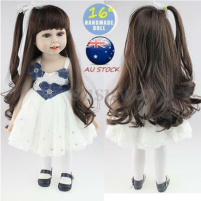 18'' Long Hair Lifelike Handmade Reborn Girl Doll Silicone Vinyl Newborn Baby