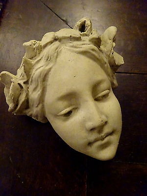 Beautiful Vintage Art Nouveau Maiden Head Sculpture Reconstituted Stone