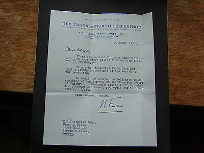 Original Letter From Vivian Fuchs, Trans-Antarctic Expedition - 19Th May 1958