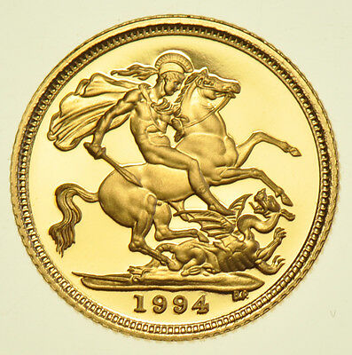 1994 Proof Half Sovereign, British Gold Coin From Elizabeth Ii Fdc