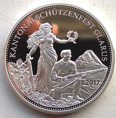 Switzerland 2017 Shooting Festival Glarus 50 Francs Silver Coin,Proof