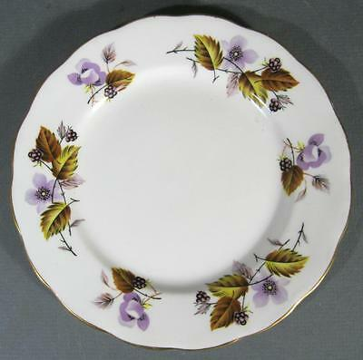 Shabby vintage Queen Anne English bone china plate purple violets flowers chic