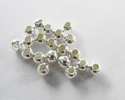 925 Sterling Silver 50 Little Round Beads 3 mm.