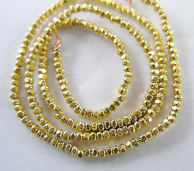 Karen hill tribe 24k Gold  Vermeil Style  200  Faceted Beads 1.4mm.