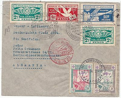 1934 Paraguay Zeppelin Flight Cover Lovely Stamps & Cachets To Berlin Germany