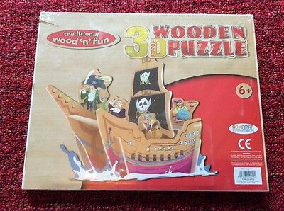 Pirate 3D Wooden Puzzle. Traditional Wood 'n' fun range. BNIB