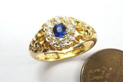 ANTIQUE ENGLISH LATE VICTORIAN 18K GOLD SAPPHIRE & DIAMOND CLUSTER RING c1885