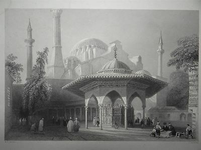 Fountain of St. Sophie Istanbul Moschee Hagia Sophia Bartlett Stahlstich 1838