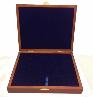 Wooden Presentation Coin Case Box c/w 3 Mixed Blue Velour Trays for 79 Coins