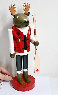 Rare LARGE Wooden Canadian Moose Kayaker / Canoe NUTCRACKER - Handpainted. 35cm!