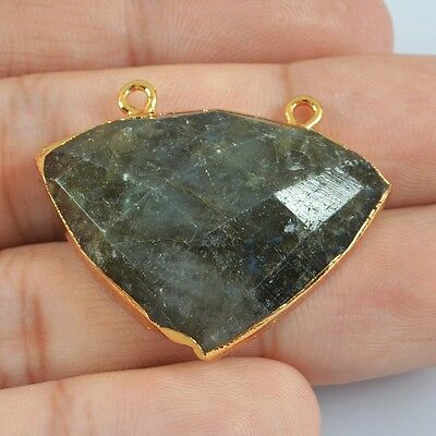 Natural Labradorite Faceted Connector Gold Plated B026688