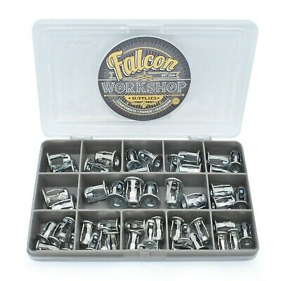 48 Assorted M4 M5 M6 Short Rivet Blind Jack Nuts Threaded Insert Screw Kit