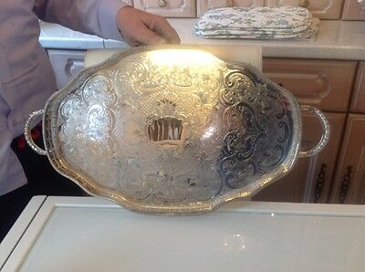 Large Towle  2 x handled tray , silver plate on copper