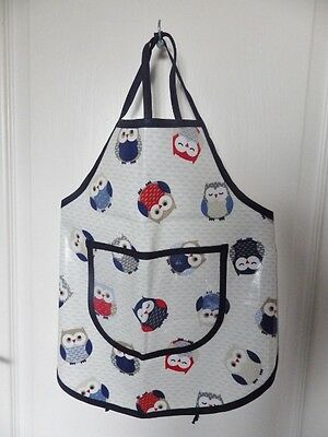 Hand Crafted KIDS DESIGN OILCLOTH CHILDRENS COOK/CRAFT APRON: Red/Blue Owls