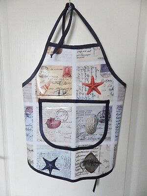 Hand Crafted KIDS DESIGN OILCLOTH CHILDRENS COOK/CRAFT APRON: COASTAL