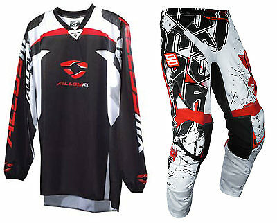 "SHOT IMPACT BLACK RED WHITE MOTOCROSS KIT PANT with ALLOY REACTOR JERSEY 38"" XL"