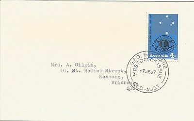 Australia Fdc-1967 Lions International-Unofficial Cover