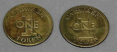 Lot of 2 Vintage BUDGET ENTERPRISES CAR WASH TOKENS COINS MEDALLIONS Advertising