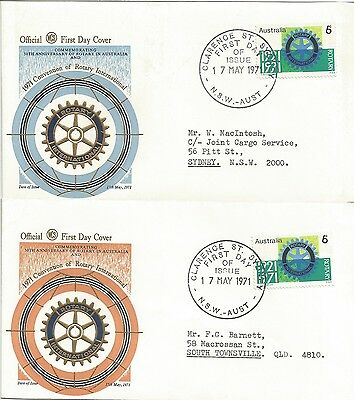 Australia Fdc-1971 Rotary International Convention-2 Covers
