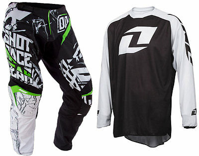 SHOT CONTACT BLOCK GREEN MOTOCROSS KIT PANT with ONE INDUSTRIES ICON JERSEY