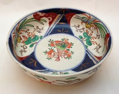 Antique Japanese Imari Bowl, Meiji Period, hand painted with Birds & Cranes