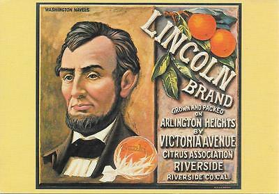 Lincoln -Sunkist Orange Label - Unposted Postcard