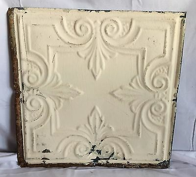 1890's 12 x 12 Antique Tin Ceiling Tile Cream Metal Reclaimed Anniversary 86-17