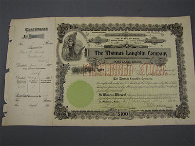 Antique 1907 Thomas Laughlin Stock Cert Certificate 526