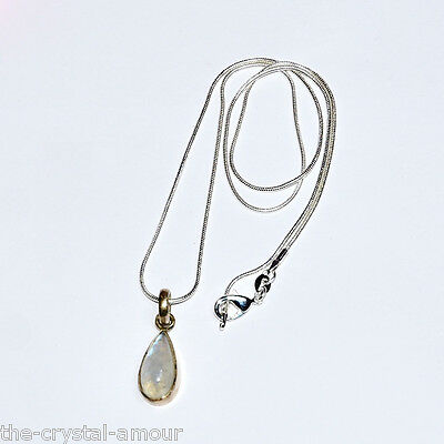 MOONSTONE TEARDROP PENDANT ~ 925 STERLING 23x9mm. SNAKE CHAIN