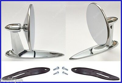 Chevy Universal Chrome Round Door Mount Mirrors Rearview w/ Gaskets & Screws