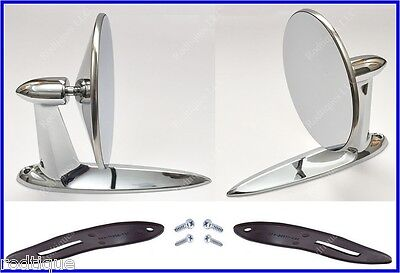 Chrysler Universal Chrome Round Door Mount Mirrors Rearview w/ Gaskets & Screws