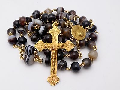 """Rare Antique Huge 19"""" 18K Solid Gold Rosary Banded Agate Beads Tetramorph Cross"""