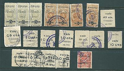 NICARAGUA - Unusual collection of 1911 Fiscal stamps - some printed both sides