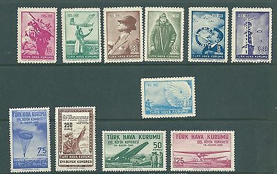 TURKEY - Unusual collection of UNISSUED AIR stamps 1950-1961 MNH
