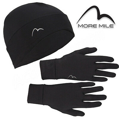 More Mile Beanie Hat Glove Set Thermal Fleece Lined Winter Warm Running Cycling