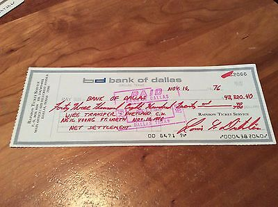 NEIL YOUNG: Vintage Rainbow Ticketmaster, Cancelled Check, Texas 1976!