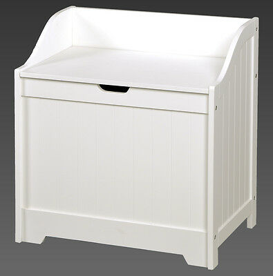 Toy Box in White Wooden Chest Childrens Kids Storage Bedroom Playroom Modern NEW