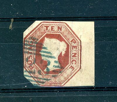 GB  1847/54 Embossed  10d  (SG 57) with Ireland 'Green' Postmark   (F902)