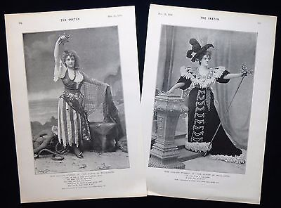 LILIAN RUSSELL THEATRE STAGE ACTRESS & SINGER 2pp VICTORIAN PHOTO STUDY 1894