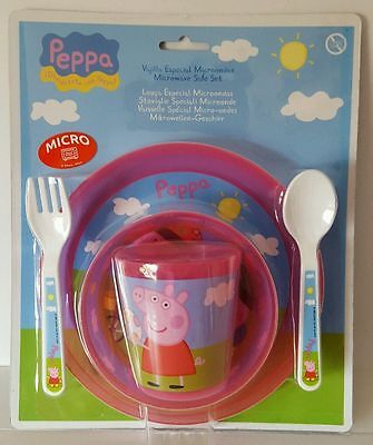 NEW Peppa Pig Dinner Set Bowl Plate Cup Fork & Spoon Microwave Safe IDEAL GIFT